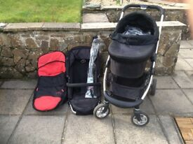 Very good condition I candy cherry black travel system - limited condition