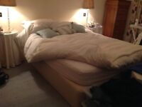 King size bed (divan base and mattress - castor wheels removed)