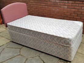 single-size bed base + mattress. In good clean condition. (headboard +£5)