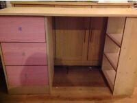 Pine & pink desk, playboy chair, pink bin & wall shelf