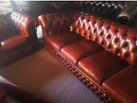 Brown leather 4 seater chesterfield sofa and club chair