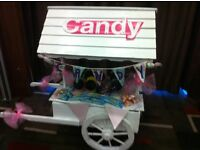 Small white candy cart