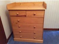 Children's wardrobe and changing chest of drawers.