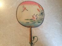 Antique Silk and Bamboo Hand Painted Round Flat Fan