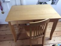 Childs wooden John Lewis Writing Desk with Chair