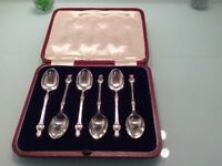 Silver Coffee Spoons (hallmarked) – Set of 6 in presentation case