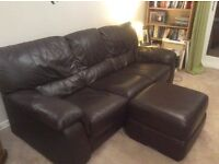 Immaculate dark brown leather 3 seater sofa (Harvey's)