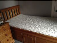 Pine cabin style single bed with storage