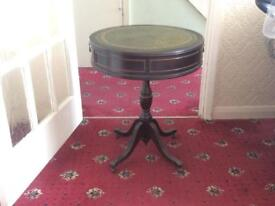 Antique Side Table with 2 Drawers & Caster Feet.