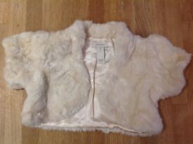 Girls Cream bolero faux fur jacket from monsoon