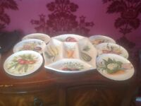 Hors D'oeuvres, dining set, serving dish and 6 plates, hand painted lovely colours