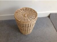 Free Woven wicker laundry basket with lid
