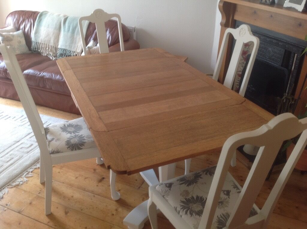SHABBY CHIC OAK DRAW LEAF DINING TABLE AND 4 CHAIRS WITH LAURA ASHLEY FABRIC SEAT COVERS