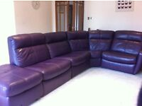 Luxury leather five piece corner suite, including two electric reclining chairs