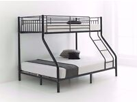 Metal Trio Sleeper Bunk Bed in silver black and white colour