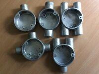 20 mm Galvanised conduit fittings. Terminal box, Through box, H box, Tee box, Y box.