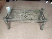 Glass topped Retro coffee table metal based