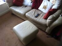 3 Seater Cream Leather Sofa with Matching Poof
