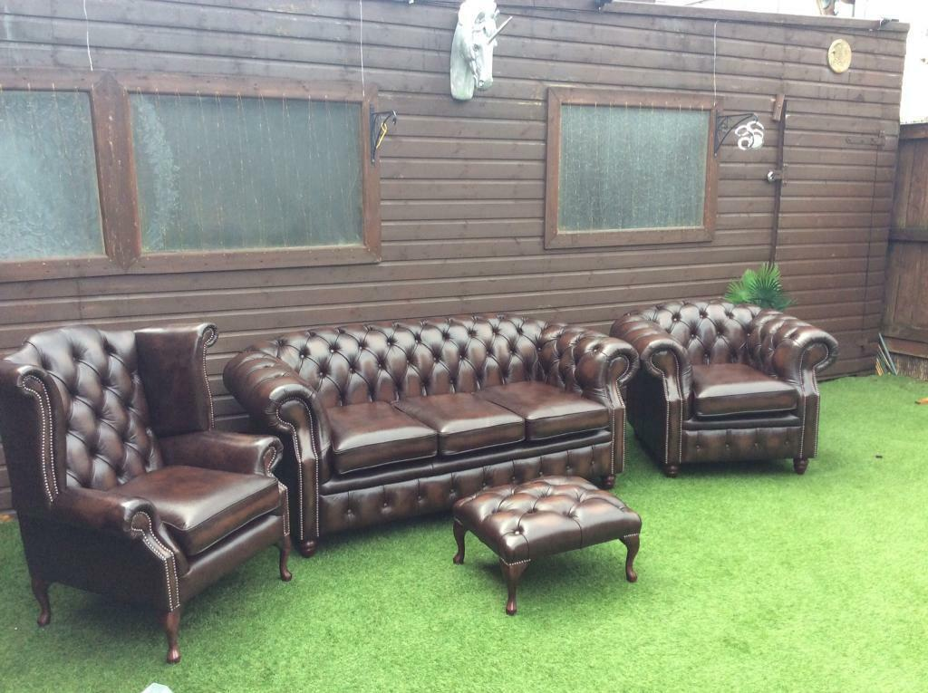 Awe Inspiring Chesterfield Sofa And Chairs Plus Stool Brand New Real Leather Colour Is Antique Brown In Northern Moor Manchester Gumtree Ibusinesslaw Wood Chair Design Ideas Ibusinesslaworg