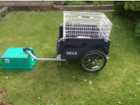 A RALEIGH MULE FLAT BED BICYCLE TRAILER (with pet cage attached)