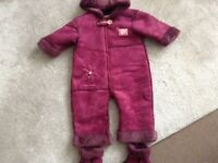 Girls Mamas & Papas Suade Fur Lined All in One Suit. Age 9-12 months with Booties. New