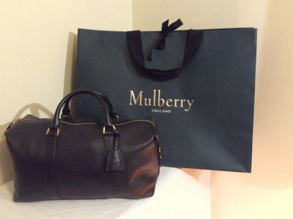 Black Mulberry Small Clipper Leather travel bag   hold-all  3ea45864905a0