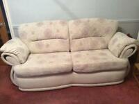 Cream 3 seater sofa 2 reclining chairs and pouffe