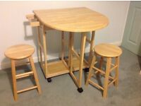 Folding 2-seat breakfast table with stools