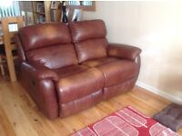 Brown leather 2 seater double electric recliner sofa