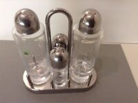 Alessi Ettore Sottsass 4-Piece Lead Crystal Glass Condiment Set With Stainless Steel Holder