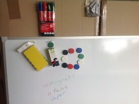 Brand new in box Large 120cm x 90cm drywipe Magnetic Whiteboard with pens, duster & magnets