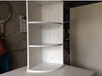 Quality white wood corner shelving