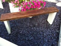 LARGE COTTAGE garden bench aprox 5-ft heavy- reclaimed wood protected weather proof paint