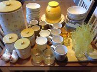 NEXT kitchen hardware accessories green/yellow/flower set - including tea, coffee, sugar & bread bin