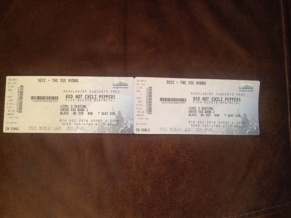Red Hot Chilli Peppers Tickets x 2
