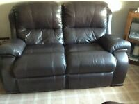 Brown Leather 2 Seater Sofa & Chair