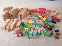 Wooden train set 100+ pieces