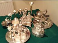 Assorted silver plate, stainless steel and crystal bits and pieces