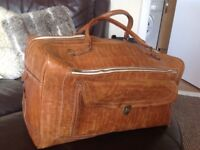 Large Tan Leather Travelling Hold-all