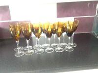 Wine glasses -coffee colour - 13 glasses