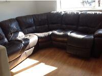 Corner electric recliner leather sofa