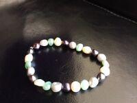 Coloured Fresh water pearl expandable bracelet