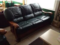 Green leather wooden framed 3 seater + armchair