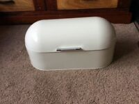 Large Cream Coloured Metal Bread Bin