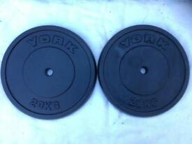 2 x 20kg York Standard Cast Iron Weights