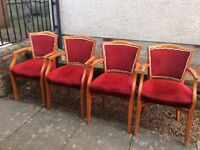 Wooden Extending Table and 4 Arm Chairs