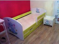 Bed + mattress + drawer , chest of 3 drawers, small chest