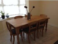 Waxed Pine Dining Table and Chairs