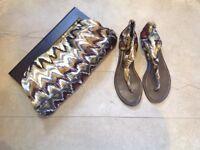 Aldo Ikat Style Ladies Shoes and Matching Handbag, UK Size 6