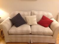 2 Laura Ashley Winchester 2 seater sofas natural stripe. V comfy.W185 cm D87 cm. Only £100 each